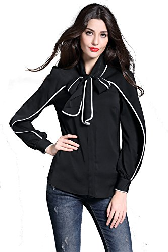 DIFANER Women Blouses Long Sleeve Stand Collar Bow Tie Button-Down Shirts Black Color Tops
