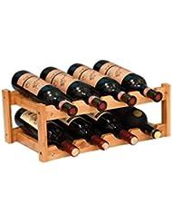 RIIPOO 8-Bottle Wine Rack, 2-Tier Nature Bamboo Wine Display Rack, Free Standing and Countertop Wine Storage Shelf