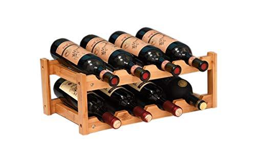 (Riipoo 8-Bottle Wine Rack, 2-Tier Nature Bamboo Wine Display Rack, Free Standing and Countertop Stackable Wine Storage Shelf (8-Bottle))