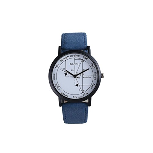 Price comparison product image Bolayu Fashion Mens Womens Quartz Analog Wrist Delicate Watch Luxury Leather Band Watches (Blue)