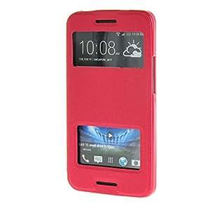 MOONCASE Side Flip Hard board Slim Leather Bracket Window Case Cover for HTC One M7 Hot pink