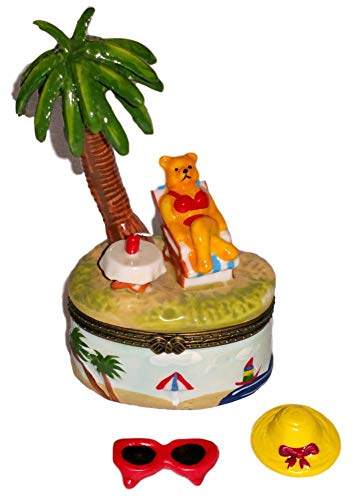 Porcelain Hinged Trinket Jewelry Box - Direct Connection Co. Brown Teddy Bear in Red Bikini Lounging Under Palm Tree 3pc Porcelain Hinged Trinket Jewelry Box