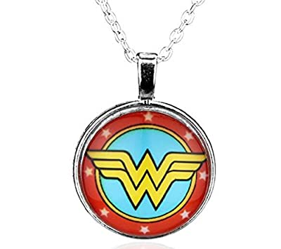 Stylish Silver Red Yellow Wonder Woman Pendant Chain Link Necklace