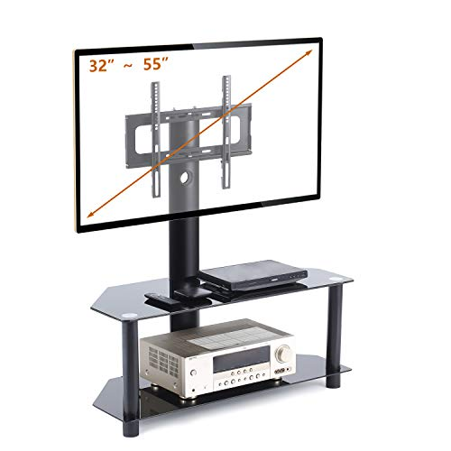 TAVR TV Stand with Swivel Mount and Height Adjustable Bracket for 32 to 55 inch LCD LED QLED Plasma TVs,Curved TVs and Glass Media Storage Shelf Black TW1001 from TAVR Furniture