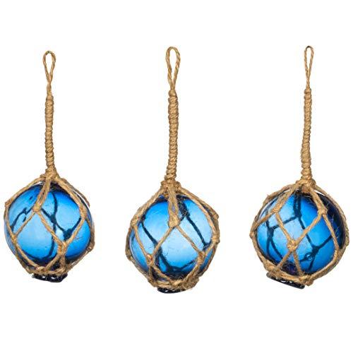 Nautical Crush Trading Cobalt Glass Float Balls | (Set of 3) Fishing Buoy Balls 2