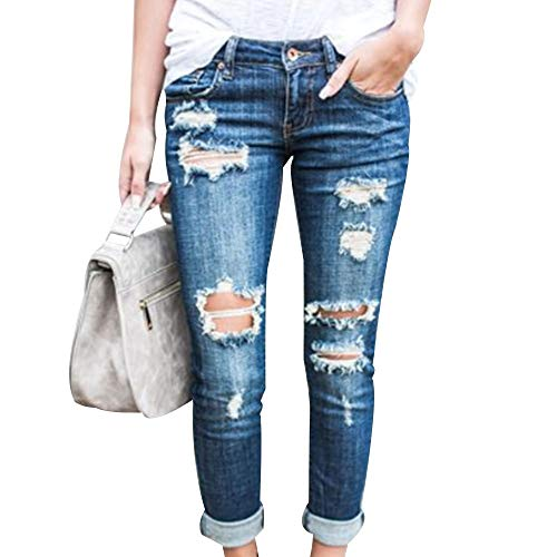 EVEDESIGN Women's Destroyed Ripped Holes Skinny Jeans Casual Distressed Slim Fit Jeans Fashion Low Stretchy Rolled Up Straight Leg Denim Pants with Pockets Lightblue