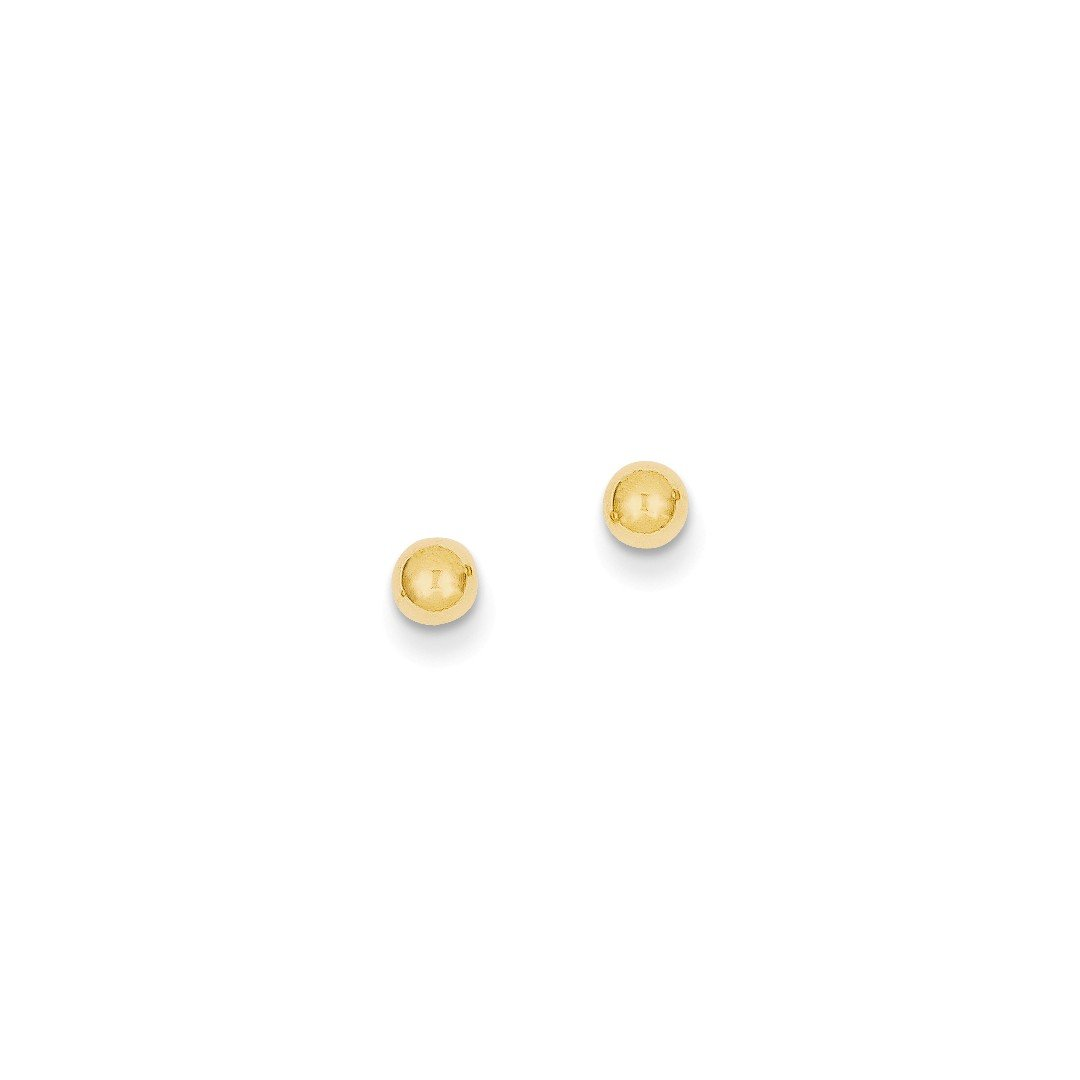 ICE CARATS 14kt Yellow Gold 4mm Ball Post Stud Button Earrings Fine Jewelry Ideal Gifts For Women Gift Set From Heart