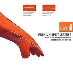 QeeLink Premium Leather Welding Gloves - Cotton Lined And Kevlar Stitching - 2 Colors & 2 Sizes, 16 Inch