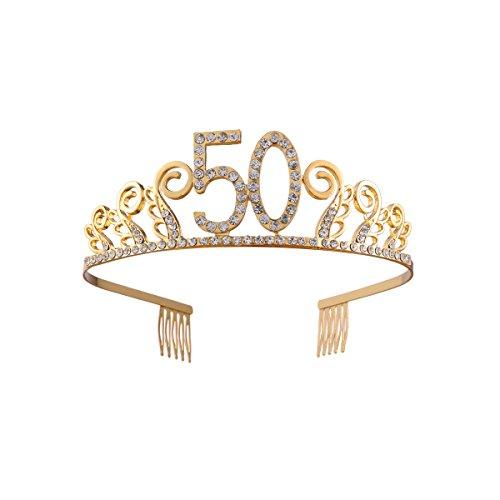Frcolor 50 Años Cumpleaños Tiara Corona Diadema Cristal (oro)