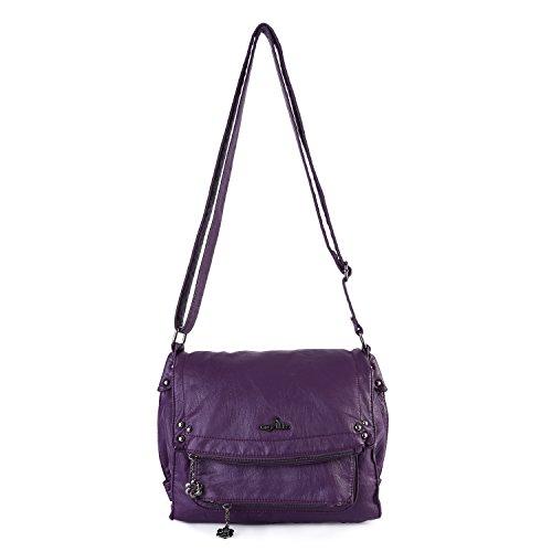 Leather Beaded Shoulder Bag (Angelkiss Women's Large Top Handle Satchel Handbag Crocodile Shoulder Bag Purse (Purple))
