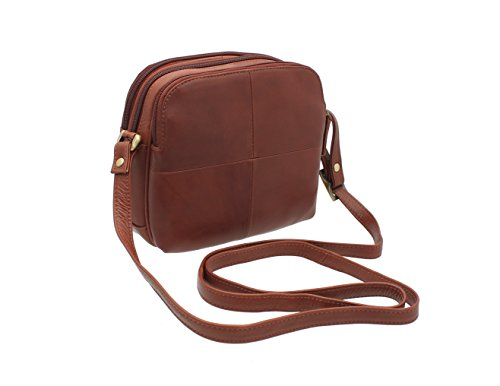 Visconti Small Shoulder Bag Style Leather Brown Sand 18939