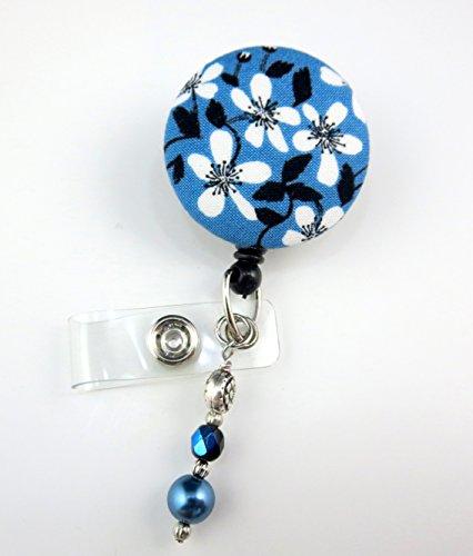 White Wild Flowers - Nurse Badge Reel - Retractable ID Badge Holder - Nurse Badge - Badge Clip - Badge Reels - Pediatric - RN - Name Badge Holder