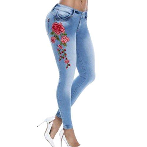 Per Matita Asiatico Pantaloni 5xl Ricamo Yying Skinny 6 Con S A Colori Blu Jeans Elasticizzati Femminili Sottili qwqg8TX