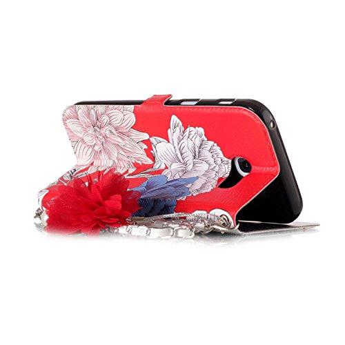 TOCASO Perlenkette Metall Blumen Umhängetasche Ranzen Frauen Nette Style PU Leder Abdeckung Wristlet Handtaschen Wallet Case Embossed Vintage Schmetterling Tier Tasche Schutzhülle für Samsung Galaxy A Gänseblümchen y8Avlim