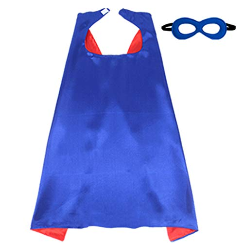 iROLEWIN Superhero Boys - Girls Cape with Mask 2 Colors Double-Sided, Blue-Red
