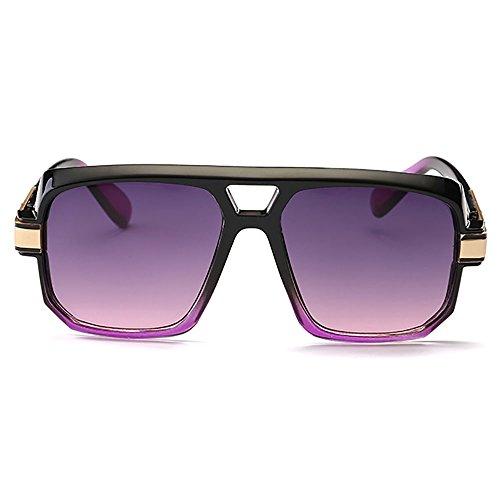 de Aviador Retro oro negro lente marco Morado metal la sol Progresiva de Plaza Gafas UV400 de Grande d5tqSS