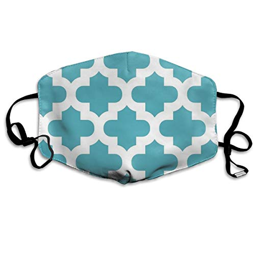 Whages Moroccan Quatrefoil Modern Trendy Teal White Elegant Chic Contemporary Pattern Washable Reusable Safety Breathable Mask, 4.3