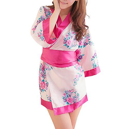 Japanese Kimono Role Play Lingerie Set 3/4 Sleeve Kimono Robe Mini Dress with OBI Belt Sexy Girl Geisha Cosplay Costume Outift (Pink&Rose)