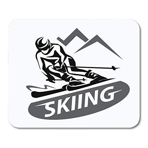 (Emvency Mouse Pads Ski Skiing Symbol Emblem Downhill Alpine Skier Slalom Silhouette Mouse pad 9.5