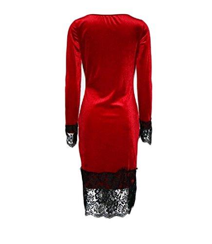 Metà Aderente Comodi Rosso Matita Colore Pizzo Cuciture Puro Vestito Donne A Lunghezza wzgq6Xpn