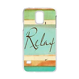 Cheap phonecase, Funny quotes, Keep relax picture for white plastic Samsung Galaxy S5 case