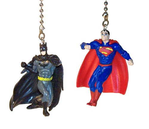 Batman & Superman Justice League Ceiling Fan Pull Set by Wooden Androyd Studio (Batman Punching & Superman) ()