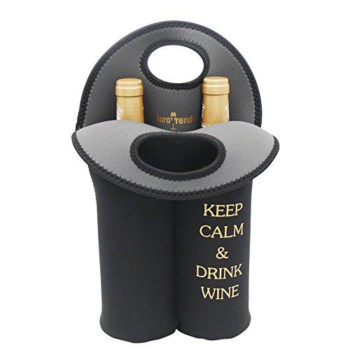 Wine Carrier Tote Bag- Durable Neoprene Wine/water Bottle Tote, Black - Great Gift That Keeps Wine Bottle Insulated on the Go (2-bottle) (Neoprene Bag Wine)