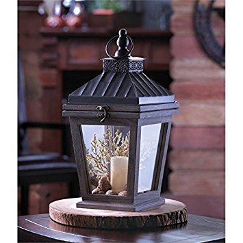 Home Locomotion Open Top Wood Frame Lantern