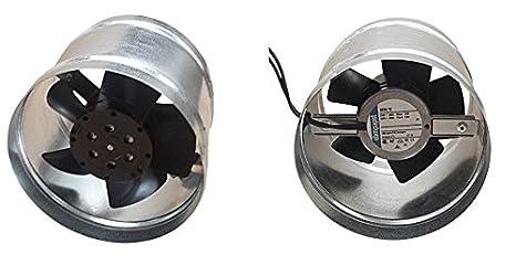 Pequeño ventilador metálico para horno, con canal distribuidor de aire caliente máx. 80°C, turbina para chimenea Whisper DN 125 – 100 m3/h.