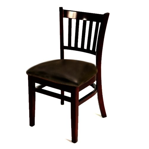 Oak Street WC102BLK-ESP  Solid Black Wood Frame Vertical Back Dining Chair with Espresso Vinyl Seat, 32.75