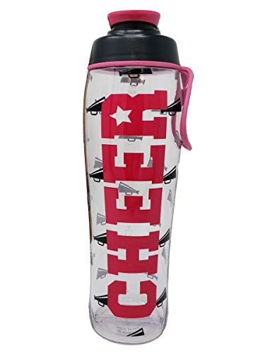 50 Strong BPA Free Reusable Cheer Dance Ballet Gymnast Water Bottle for Girls - 24 30 oz. Clear with Cheerleading Dancer Gymnastics Print - Gift for Cheerleaders, Dancers & Gymnasts (Cheer, 30 oz.)]()