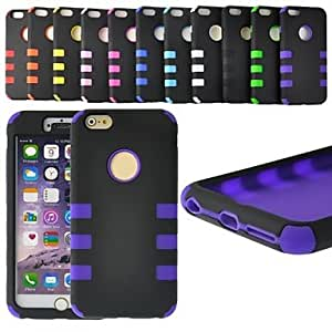 Defender Design Multi-Layer Rubber Case Shockproof Cover for iPhone 6 Plus (Assorted Colors) , Black