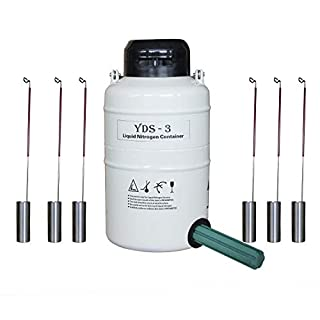 HFS 3L Cryogenic Tank Liquid Nitrogen Ln2 Container with Straps and Carry Bag with 6 Canisters