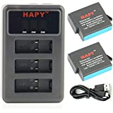 HAPY 2 Pack Rechargeable Battery and 3 Battery Channel Travel USB Charger for gopro HERO 6,HERO6 Black,HERO 5, HERO5 Black,HERO (2018),AHDBT-501