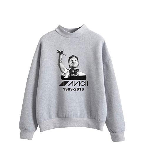 Haililais Colletto Moda Grey1 Dj Lunga Maglie Casual Maglietta Donne Avicii E Per Pile Maglione Sweatshirts Alta Top Manica Felpe Uomini Con Qhrdst