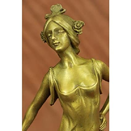 Gold Patina Hot Cast by Lost Wax Gypsy Dancer Bronze Sculpture Marble Statue