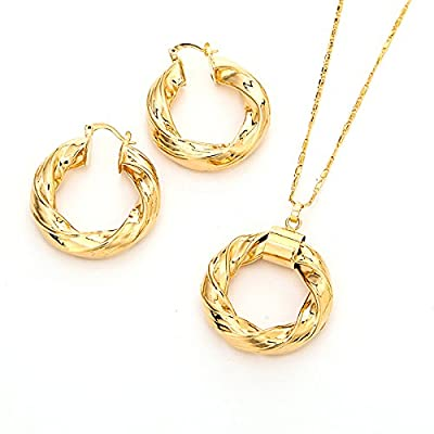 Top Gold Plated Round Necklace Earrings Set Jewelry Ethiopia Nigeria for women for sale