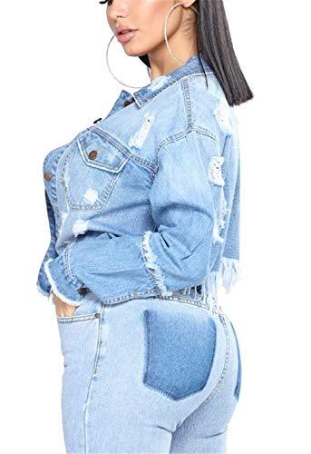 Corto Relaxed Tempo Denim Libero Women Primaverile Donna Fidanzato Jeans Anaisy Lunga Autunno Tendenza Giacca Eleganti Blu Streetwear Fashion Strappato Stile Manica Giubbino Cappotto Giovane OwZwqt