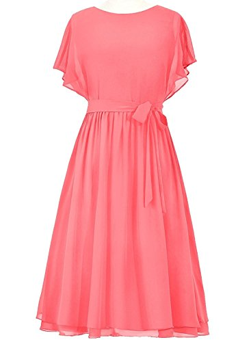 VaniaDress Women A Line Short Bridesmaid Dress Prom Gowns V089LF Coral US18W