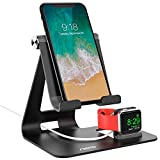 Apple Watch Stand, Aerb Apple Watch and Phone Charging Station Dock, 3 in 1 Universal Desktop Stand Holder for Tablets, iPad, iPhone X 8Plus/8/7Plus/7/6Plus/6S and iWatch 38mm/42mm, Aluminum, Black