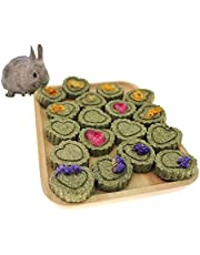 Bunny Chew Toys for Teeth,Natural Organic Timothy hay Handmade Grass Cakes Pet Snacks Toys for Bunny Chinchilla Guinea Pig Dwarf Rabbit Improves Dental Health(36 Pcs)