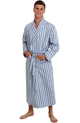 Striped Mens Robe (Del Rossa Men's Cotton Robe, Lightweight Woven Bathrobe, Large Dark Blue and White Striped)