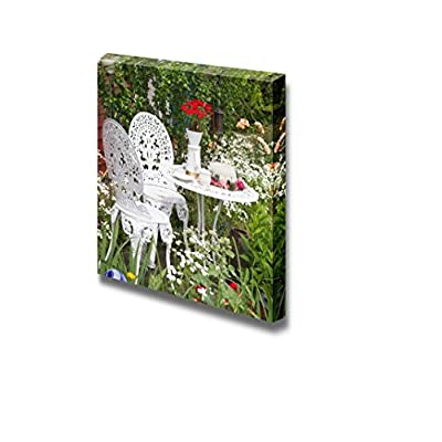 Canvas Prints Wall Art - Garden Furniture Set with Flowers Growing in Garden - Landscape - 16