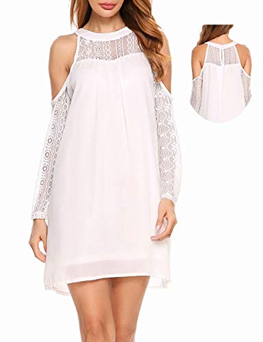 ACEVOG Women's Cold Shoulder Lace Chiffon Mini Patchwork Loose Casual Dress,White,Large