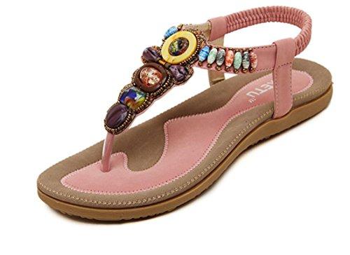 Scarpe YCMDM delle donne di modo 2017 nuovo rilievo femmina sandali della Boemia della spiaggia scarpe piane , pink , 39