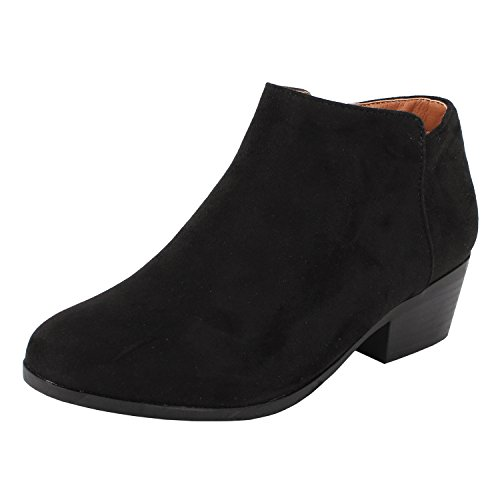 Bella Marie Womens Bradee-07 Suede Ankle Booties Black (10)