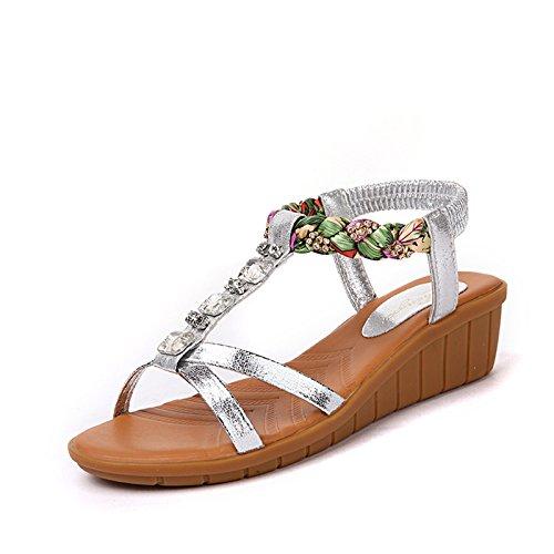 de zapatillas cuero verano 37 de Señoras pendiente Sandalia oro toe con sandalias Silver 4wqqpf