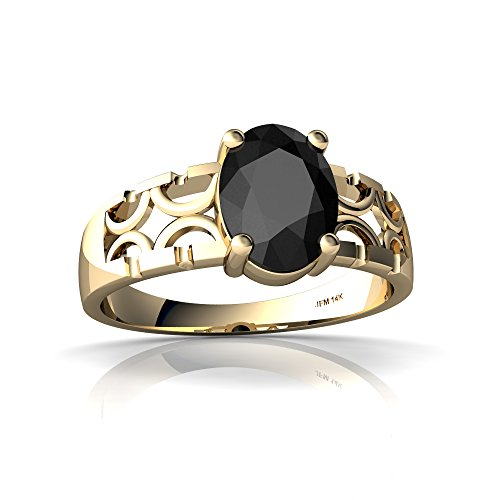 14kt Yellow Gold Black Onyx 8x6mm Oval Art Deco Ring - Size 8
