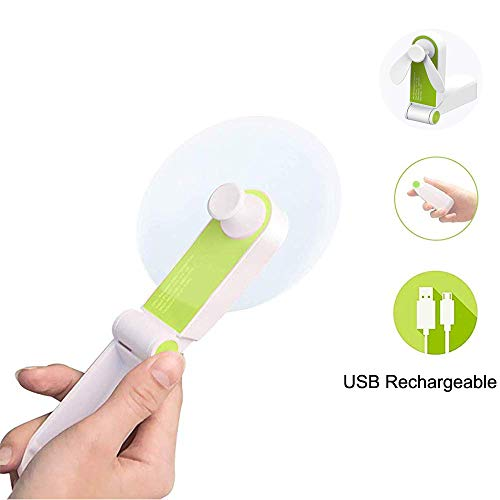 WINDFIRE Mini Handheld Fan Portable Pocket Travel Folding Fan Powerful USB Rechargeable Small Personal Fan for Travelling,Camping,Office(Green)