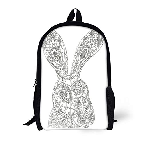 Pinbeam Backpack Travel Daypack Easter Hare Coloring Page Adult Bunny Rabbit Woodland Waterproof School Bag -